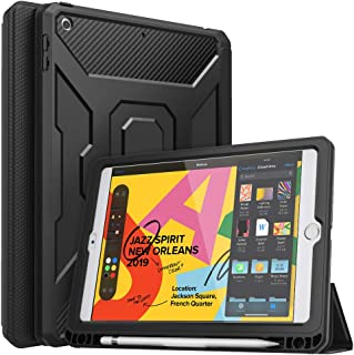 """MoKo Case Fit New iPad 7th Generation 10.2"""" 2019 / iPad 10.2 Case, [Built-in Screen Protector] Full-Body Shockproof Case Smart Shell Trifold Stand Cover with Auto Sleep/Wake & Pencil Holder - Black"""