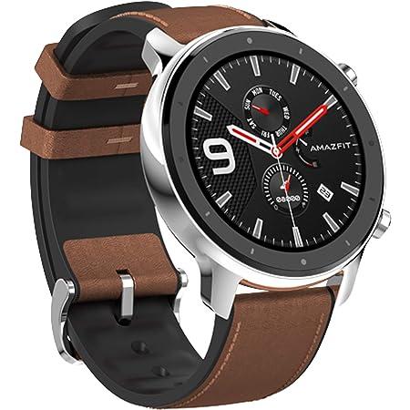 Amazfit GTR47MM ステンレス鋼 スマートウォッチ 円型 タッチスクリーン 5ATM防水 大容量バッテリー 活動用 歩数計 Facebook/Lineアプリ通知/スポーツメンズ/IOS Android スマートウォッチ支持 日本語対応GTR 47mmスマートウォッチHuami 5ATM防水スマートウォッチGPS音楽コントロール for Android IOS グローバル アマズフィット gtr smart watch (stainless steel)