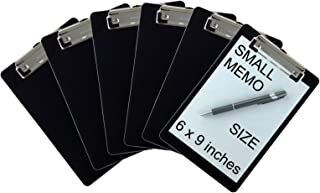 Trade Quest Memo Clipboard 6'' x 9'' Low Profile Clip Plastic (6-Pack) (Black)