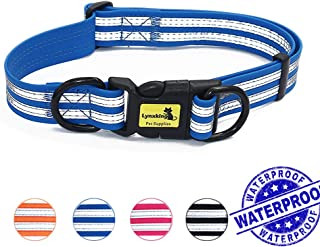 lynxking Waterproof Dog Collar Upgrade Reflective Adjustable No Stink Safety Anti-Odor Durable Coated Soft Pet Necklace Neck Loop Collars for Small Medium Large Dogs
