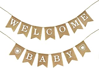 Dadam Welcome Baby Burlap Banner Flags Vintage Baby Shower Banner Rustic Baby Shower Decorations Banners and Signs