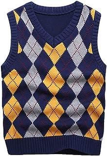 Boys Sweater Vest V Neck Argyle Sleeveless Uniform Knit Plaid Kids Clothes