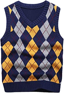 KID1234 Boys Sweater Vest V Neck Argyle Sleeveless Uniform Knit Plaid Kids Clothes