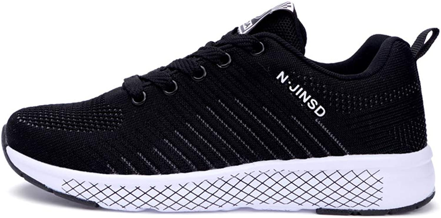 Flying Weaving Sneakers Female, Leisure Wild Student Running shoes, Fitness Training,Black,38