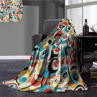 Psychedelic Travel Blanket Retro Theme Circle Pattern Evil Eyes Design Techno Trance Design Art Print Gifts to Your Family,Friends,Kids Throw Size Multicolor 30x50 Inch