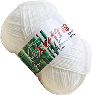 Set of 10 Skein Natural Select Soft Tencel Yarn 70% Bamboo + 30% Egyptian Cotton Crochet 50g Baby Knit Wool Yarn (White 9013)