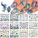 Peacock Nail Art Stickers Feather Nail Sticker ,CHANGAR Flower Leaf Grass Water Nail Decals 12 Sheets Peacock Feather DIY Nail Decorations Manicure Tips for Woman Girl Children
