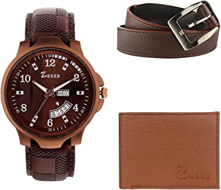Zesta Combo Pack of Brown Analogue Watch with Day and Date Function, Wallet and Belt for Men and Boys