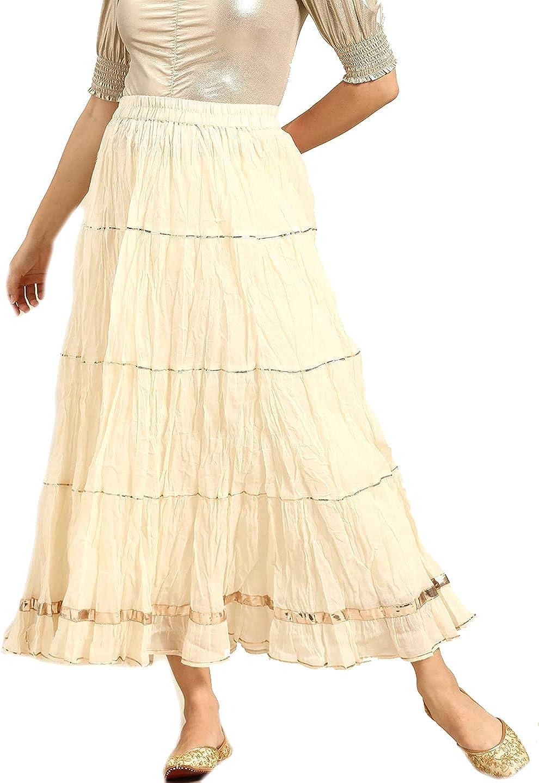 Cotton Skirt for Women Dress Wide Leg Elastic Waist Flaire Long Maxi Free Size (Skirt Size, s) Off-White