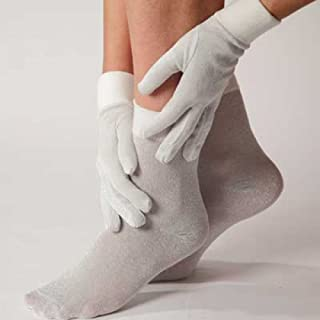 Women's Thermal Sock's and Glove's Liner Metallic Set in Silver