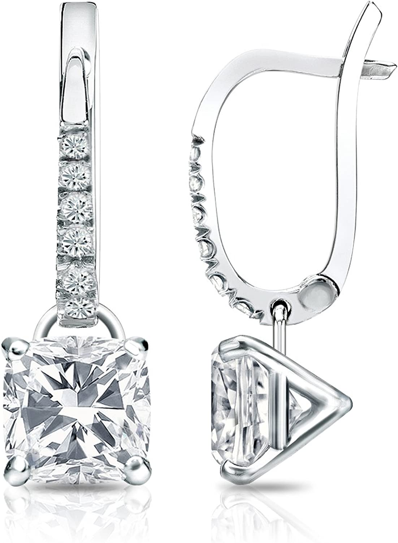 Platinum Cushion Diamond Dangle Free Shipping New 4-Prong Earrings 1 Martini 2-2 Easy-to-use