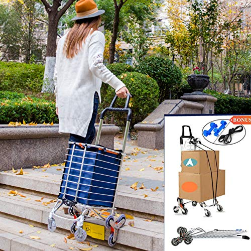 Shopping Cart Portable Grocery Cart Utility Lightweight Stair Climber Shopping Carts with Rolling Swivel Wheel and Waterproof Canvas Removable Bag Shopping Cart for Groceries