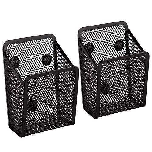 AIEX 2 Pack Magnetic Pencil Holder, Mesh Storage Baskets with Magnets Perfect Mesh Pen Holder for Refrigerator, Whiteboard, Locker Accessories, Office Supplies Organizers (Black)