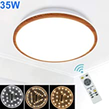 DLLT LED Flushmount Ceiling Light with Remote, 35W Dimmable Flush Mount Ceiling Light Fixture for Living RoomBedroomDining RoomKitchen Lighting, Timer, 3 Light Color Changeable