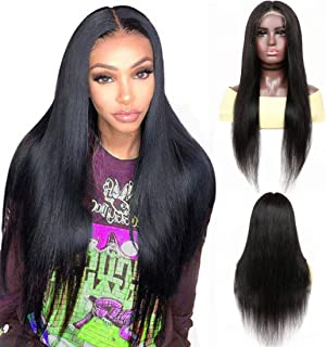 YYONG Straight Lace Front Wig Human Hair Pre Plucked Bleached Knots Brazilian Lace Frontal Wigs with Baby Hair Honey Long ...