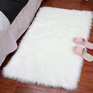 HARESLE Faux Fur Fluffy Rug Faux Sheepskin Rugs White Floor Carpet for Bedrooms Living Room, White/2'x 4'