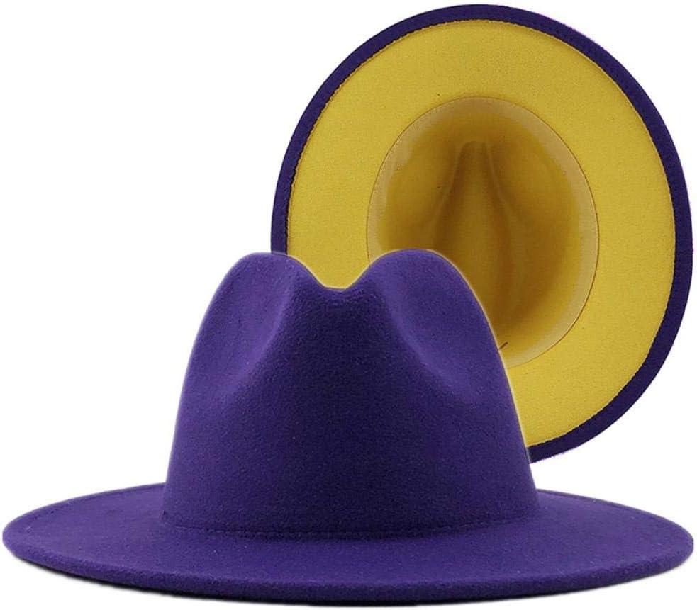 Fedora Panama Jazz Hat Unisex /Äu/ßere Blaue innere gelbe Filz Jazz Fedora H/üte mit d/ünner G/ürtelschnalle M/änner Frauen breite Krempe Panama Trilby Cap