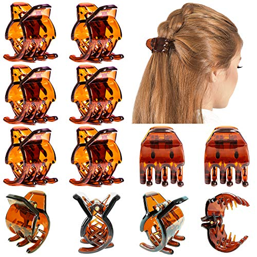 RC ROCHE ORNAMENT 12 Pcs Womens Criss Cross 3 Claw Hair Clips Secure Strong Hold No Slip Jaw Teeth Accessories Accessory Girls Ladies Plastic Fashion, Medium Brown