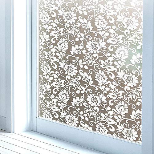 LMKJ Película de Ventana de privacidad electrostática de Mantenimiento Fresco Esmerilado Autoadhesivo Adhesivo de Vidrio para el hogar película de Ventana Blanca A24 60x100cm