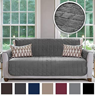 Gorilla Grip Original Velvet Slip Resistant Luxury Sofa Slipcover Protector, Seat Width Up to 70 Inch Patent Pending, 2 Inch Straps, Hook, Couch Furniture Cover for Pets, Dogs, Kids, Sofa, Gray