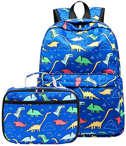 CAMTOP Backpack for Kids, Boys Preschool Backpack with Lunch Box Toddler Kindergarten School Bookbag Set (Y025-2 Dinosaur-Dark Blue)