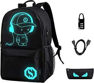 Anime Luminous Backpack Men School Bags Boys Girls Cartoon Bookbag Noctilucent Daybag
