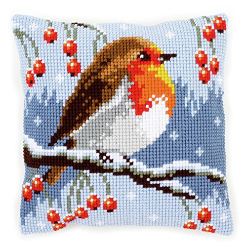 Vervaco Cross Stitch Kit: Cushion: Red Robin in The Winter, COTTON, N\A, 40 x 40cm