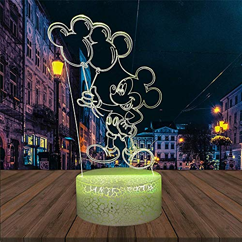 3D Illusion Lamp 16 Colour Changing Acrylic LED Night Light with,Art Sculpture Lights Room Home Decoration,USB Charger, Pretty Cool Toys Gifts Ideas Birthday Holiday Xmas for Baby Mickry Balloon