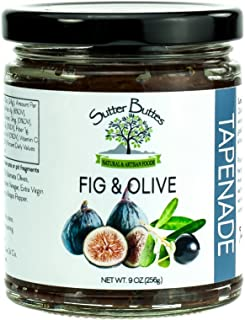 Sutter Buttes Olive Tapenade with Dried Figs (9 oz Jar); Gourmet Artisan-Crafted Pesto Spread w/Black Kalamata Olives and Premium Californian Figs, All-Natural Vegan Dip