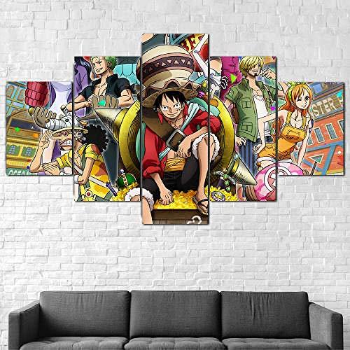 IIIUHU 5 Piezas Cuadro sobre Lienzo De Fotos Personajes de One Piece Luffy Lienzo Impresión Cuadros Decoracion Salon Grandes Cuadros para Dormitorios Modernos Mural Pared Listo para Colgar