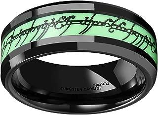Aurora 8mm Luminou Glow Tungsten Carbide Wedding Ring Celtic Dragon/Skull/Lord of Ring