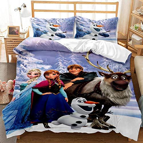 YZHY - Juego de cama infantil de princesa de Disney para niños, funda de almohada de 50 x 75 cm + funda de edredón con diseño de animado, regalo de cumpleaños para niñas (I,200 x 200 cm)