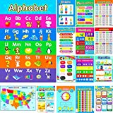 15 Educational Posters for kids Alphabet chart Numbers Colors US maps money months Seasons Shapes Weather Days Weeks for preschool homeschool kindergarten classroom 1 10 100 ABC wall decor (11x17 in)