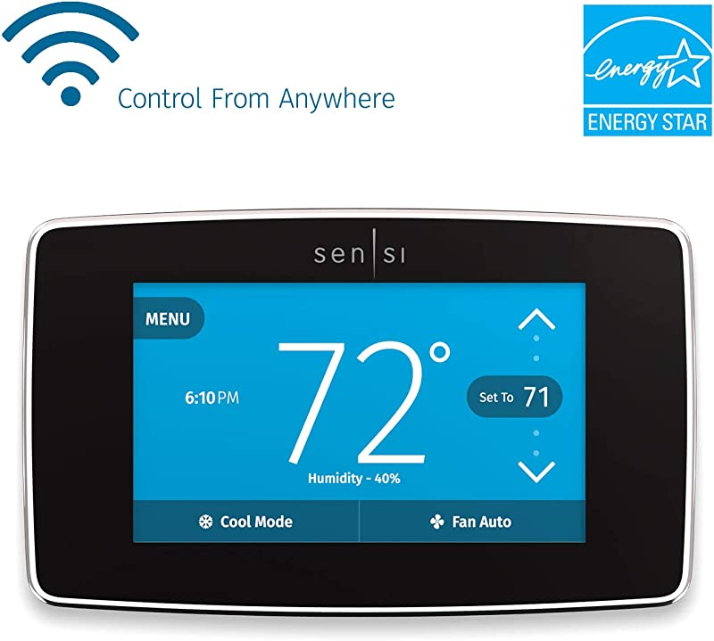 Emerson Sensi Touch Wi Fi Smart Thermostat With Touchscreen Color Display Works With Alexa Black Energy Star Certified C Wire Required