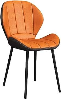 ZYXF 1x Sillas De Comedor Nordicas Estilo Vintage Dining Chairs Juego De 1 Sillas De Cocina Tulip Sillas Tapizadas En Cuero Sintético Adecuada para Sala De Estar, Comedor (Color : Orange)