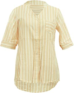 Wiwsi Women Fashion Striped Shirts Sexy V Neck Solid Tops Blouses Casual Clothes