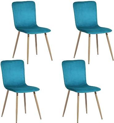 MEUBLE COSY Lot de 4 Chaises de Salle à Manger de Style scandinave avec un Revêtement de Velours Bleu Foncé, Pied en Métal imitation Bois