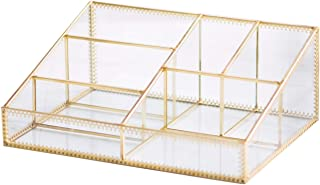 Makeup Organizer Antique Countertop Cosmetic Storage Box Glass Beauty Display, Gold Spin Large Capacity Holder for Brushes Lipsticks Skincare Toner