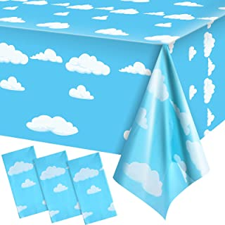 3 Pieces Blue Sky White Clouds Birthday Party Supplies Cartoon Story Tablecloth Party Table Cover Cartoon Table Banner for...