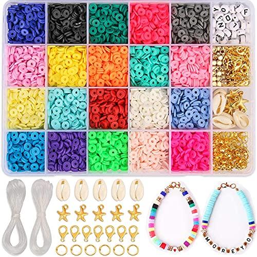 Veilhoho Argile Polymère Perles pour Bijoux Kit Fabrication Bijoux Perles pour Bracelet Collier Bricolage Loisirs Créatifs Kit Création Bijoux pour Enfant Fille Adulte
