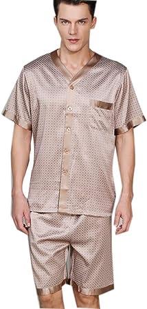 100 Pijama de Seda Pura para Hombre, Juego de Pijamas Cortos con botón de impresión, Ropa de Dormir de Manga Corta PJ Set Nightwear para Verano