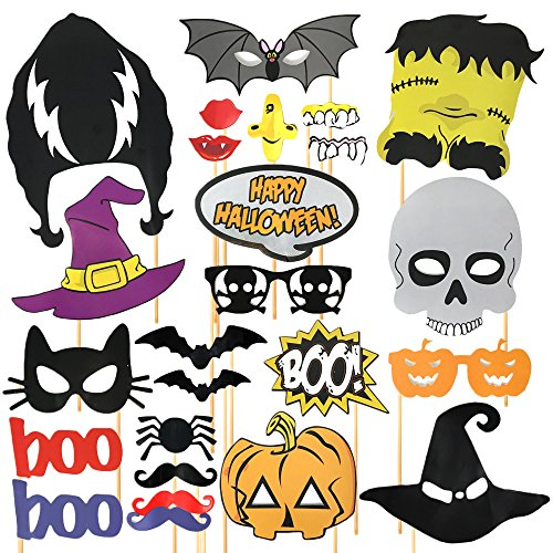 THE TWIDDLERS 35 Accesorios de Halloween para Cabina de Fotos Decoracion en Halloween! Incluyen Accesorios Extra Grandes para Photo Booth Props