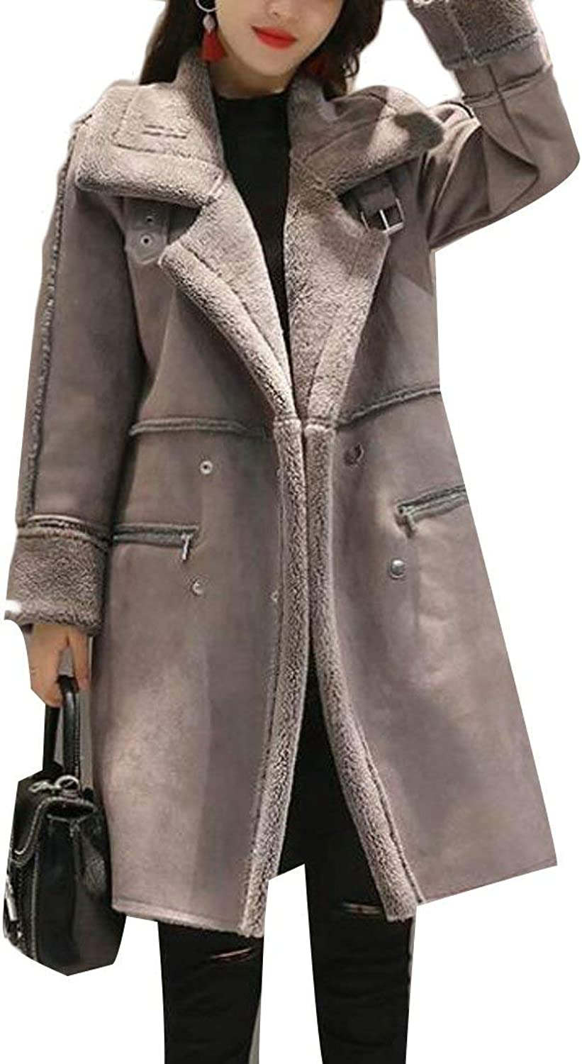 BU2H Womens Comfy Trench Coat Hooded Suede Lamb Wool Warm Quilted Jacket