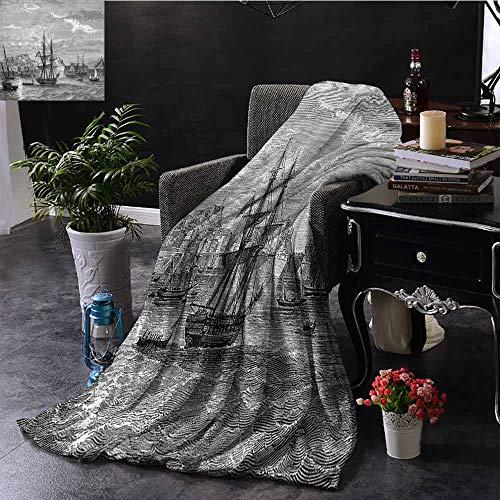 GGACEN Digitale Dekens Afwijken van Elba Vintage Gegraveerde Illustratie Geschiedenis van Frankrijk Zeilt Schepen Extra Cozy, Machine Wasbaar, Comfortabele Home Decor 60