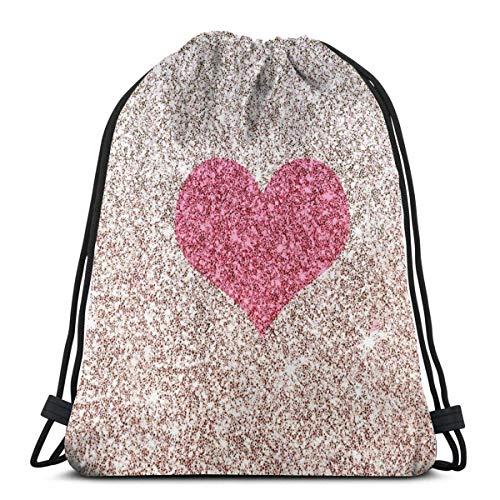 AEMAPE Bolsas con cordón, Mochila con Forma de corazón Plateado, Bolsas con Cuerdas, Almacenamiento Deportivo a Granel, Gimnasio para niños, Mochila de Viaje Reutilizable