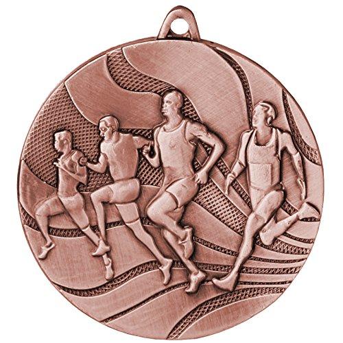 pokalspezialist 10 Stück Medaille Bronze Laufen/Leichtathletik aus Stahl, 50 mm x 3 mm MMC2350