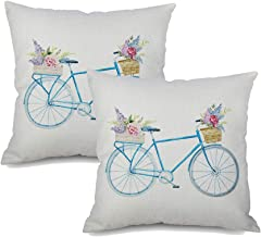 ANIDL Blue Bicycle Watercolor Retro Flower Throw Pillow Cover Vintage Spring Home Decorative Cushion Case Cotton Linen for...
