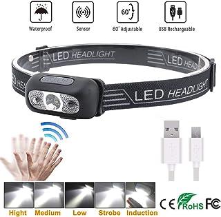 Boruit Super Bright LED Sensor Headlamp, Lightweight Waterproof Headlamps, USB Rechargeable Battery Flashlight, 5 Modes 500 Lumens XPG2 Headlight for Running Biking Fishing Camping Hiking and Kids