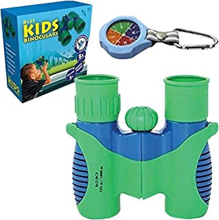 Kids 8 X 21 Binoculars for Kid Boys and Girls Gifts - Educational - Birthday Presents - Outdoor Adventure Kids Learning Fun - HIGH Resolution - Compact Toy - Bird Watching - Real Optics