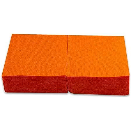 Morigami, Servilleta de tamaño pequeño, 2 capas, pliegue 1/4, 100 servilletas, acabado punta-punta, Naranja